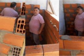 ¡Increíble video!  Un albañil construyó una habitación sin puerta y es viral en internet   Informe Construccion
